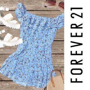 Ditsy Dandelion Print Cute Off the Shoulder Dress